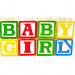 Colorful Alphabet Blocks Spelling the Words BABY GIRL — Stock Photo