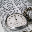 The Bible opened to Matthew 24: 36 with a Pocketwatch — Stock Photo