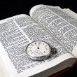 The Bible opened to Matthew 24: 36 with a Pocketwatch — Stock Photo #3394710