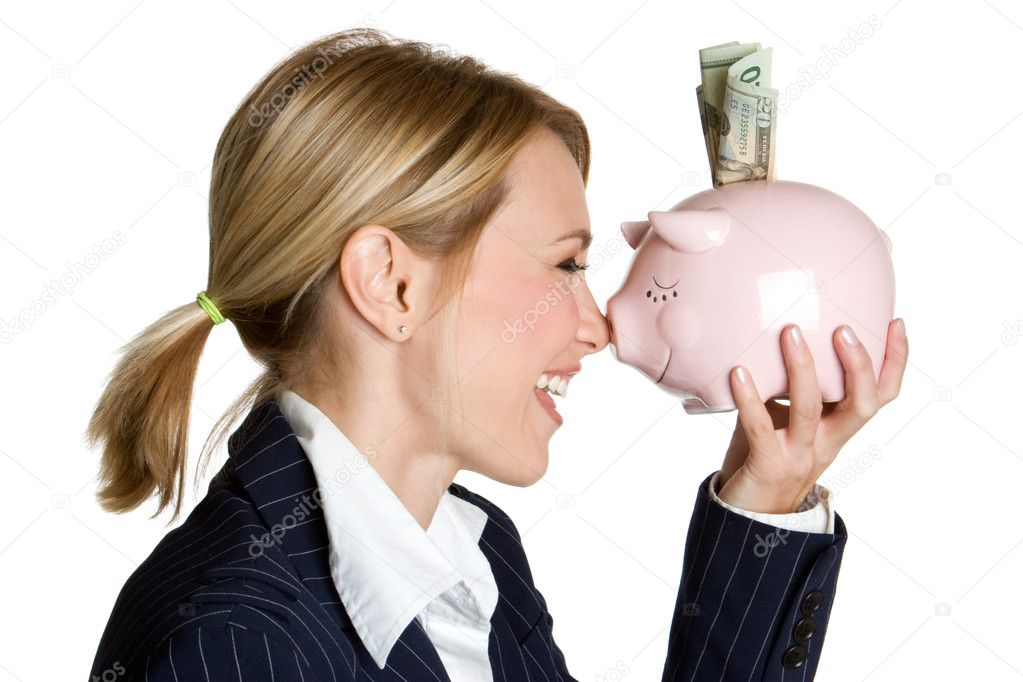Beautiful woman holding piggy bank — Stock Photo #2845892