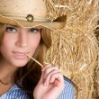 Sexy Country Woman - Stock Photo