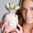 Woman Holding Piggybank — Photo
