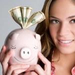 Woman Holding Piggybank — Stock Photo