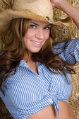 Country Girl in Barn — Stock Photo