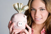 Woman Holding Piggybank — Stock Photo
