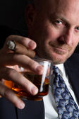 Drinking Smoking Man — Stock Photo