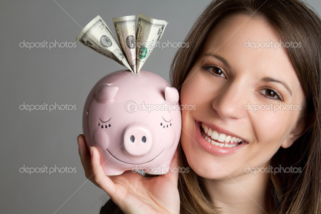 Smiling woman saving money — Stock Photo #3125634