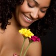 Woman Holding Flowers — Stock Photo
