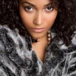 Woman Wearing Fur Coat — Stock Photo