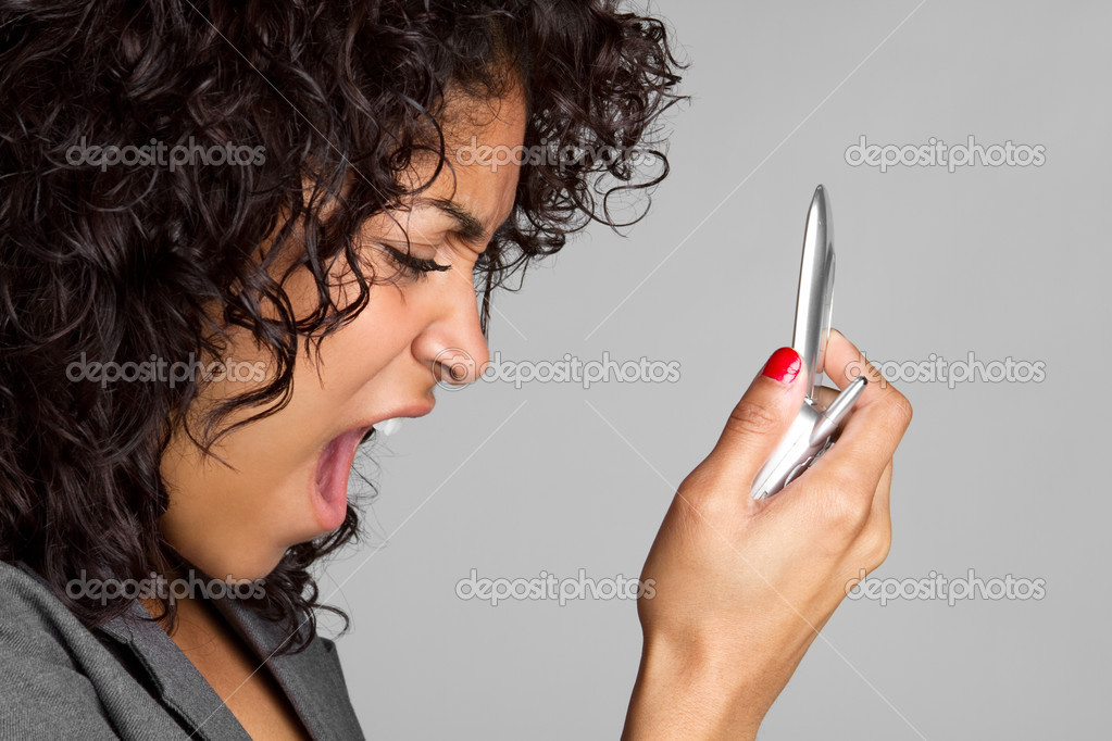 Black woman yelling into phone — Stock Photo #3153124