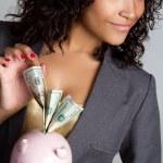 貯金箱の女性 — ストック写真