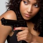 mujer de arma — Foto de Stock