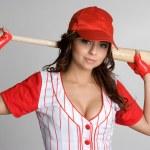 jugador de béisbol femenino — Foto de Stock