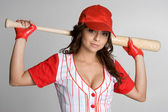 Female Baseball Player — Stock Photo