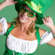 Saint Patricks Day Woman — Stock Photo
