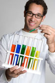 Man Holding Chemicals — Stock Photo