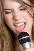 Microphone Girl — Stock Photo