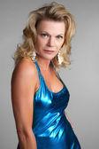 Sexy Blue Dress Woman — Stock Photo