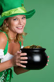 Pot of Gold Woman — Stock Photo