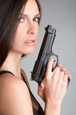 Woman Holding Gun — Stock Photo