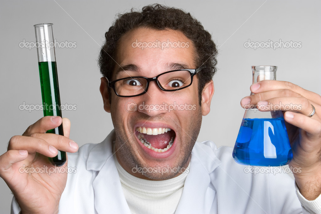 Mad scientist holding chemicals — Stock Photo #3186630