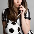 Foto Stock: Soccer Referee Girl
