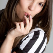 Stock Photo: Referee Blowing Whistle