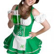 Irish Girl Holding Beer — Stock Photo