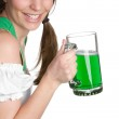 Irish Girl Holding Beer — Stock Photo #3229431
