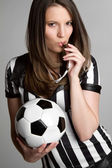 Soccer Referee Girl — Stock Photo