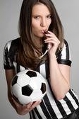Piłka nożna sędzia dziewczyna — Zdjęcie stockowe