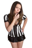 Referee Blowing Whistle — Stock Photo