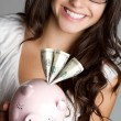 Stock Photo: Piggy Bank Woman