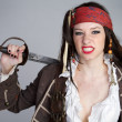 Angry Pirate Woman - Stock Photo