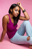 Black Girl Sitting — Stock Photo