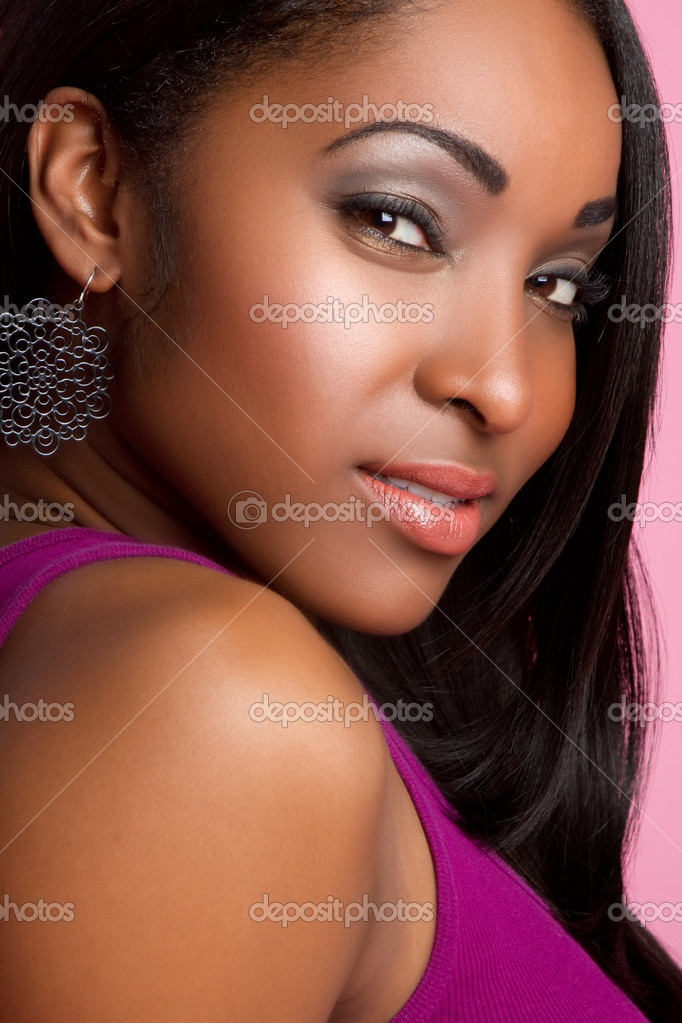 Pretty black woman portrait closeup  Stock Photo #3308307
