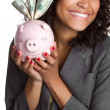 Piggy Bank Woman — Stock Photo