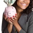 Piggy Bank Woman — Stock Photo #3366455