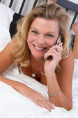 Phone Bed Woman — Stock Photo