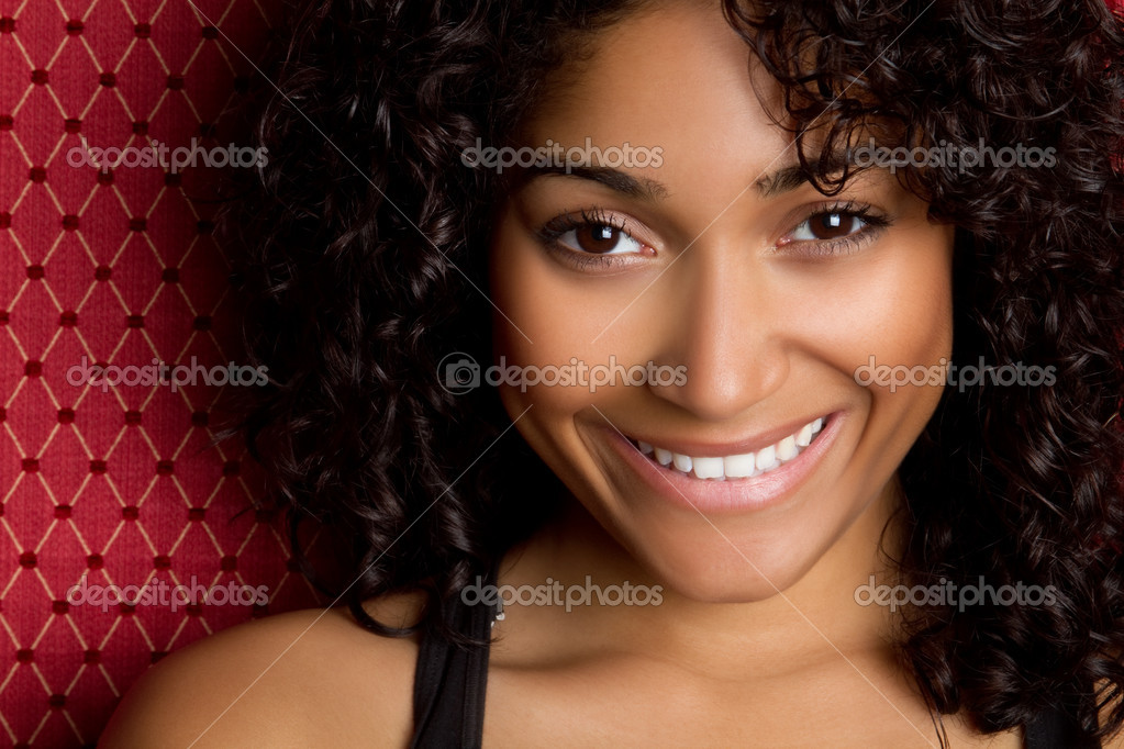 Happy african american woman smiling  Stock Photo #3366486