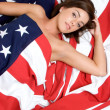 American Flag Woman — Stock Photo