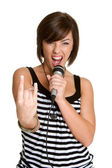 Karaoke Girl — Stock Photo