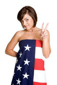 American Flag Girl — Stockfoto