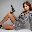 Sexy Gun Woman - Stock Photo