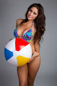 Beach Ball Woman — Stock Photo
