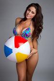 Beach Ball Woman — Stock Photo