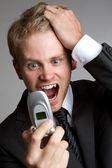 Yelling Phone Man — Stock Photo