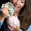Woman Saving Money — Stock Photo #3646668