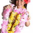 Tropical Flower Lei Woman - Stock Photo