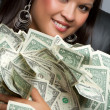 Woman Holding Money — Stock Photo #3702585